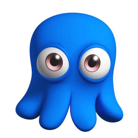 pulpo: Dibujos animados 3d lindo monstruo Foto de archivo