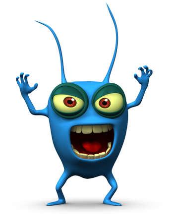 computer bug: 3d cartoon blue parasitic