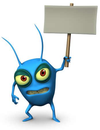 parasitic: 3d cartoon blue parasitic holding blank