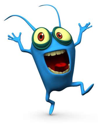 3d cartoon blue parasitic Stock Photo - 15626370