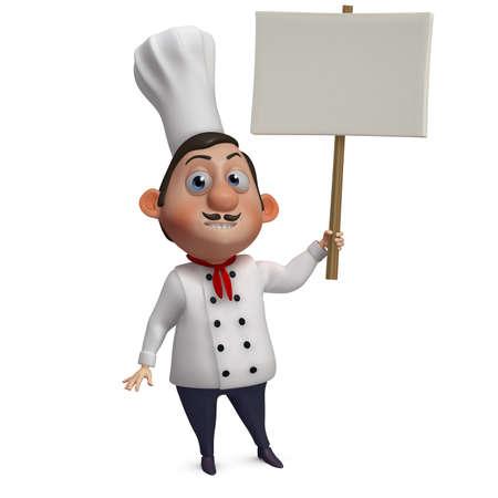 chef italiano: Cocinero de la historieta 3d que sostiene en blanco