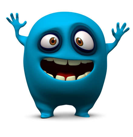 cartoon bacteria: 3d cartoon cute monster