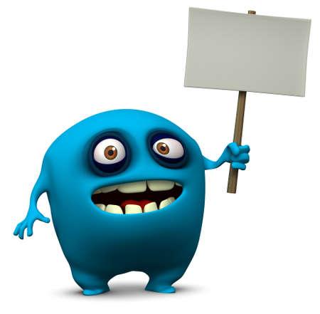 3d cartoon cute monster holding blank photo