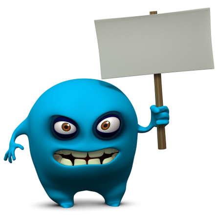 mutant: 3d cartoon cute monster holding blank Stock Photo