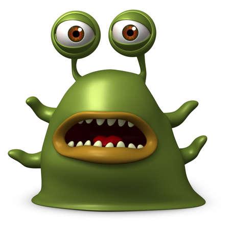 gusanos: Dibujos animados 3d monstruo babosa