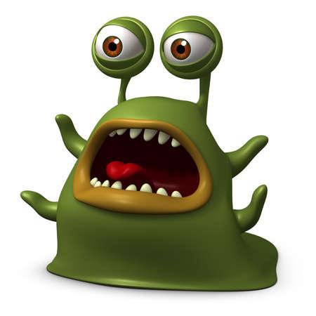 unicellular: 3d cartoon slug monster