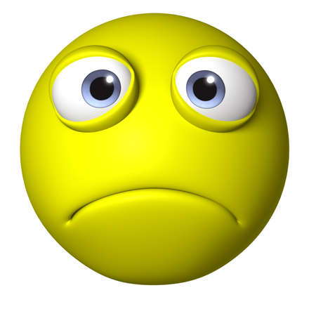 cara triste: Bola de dibujos animados 3D Foto de archivo