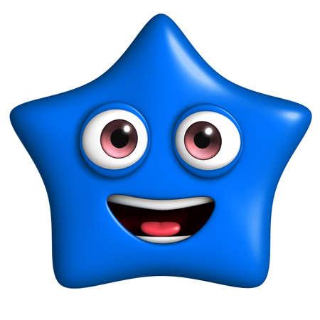 mime: 3d cartoon cute blue star Stock Photo