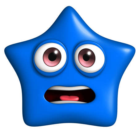 star cartoon: 3d cartoon cute blue star Stock Photo