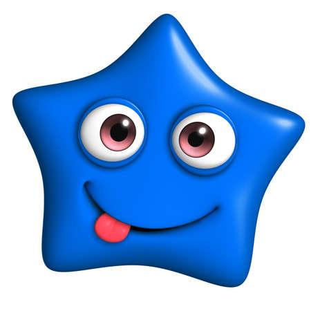 3d cartoon cute blue star photo