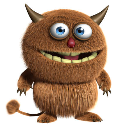 abominable: 3d cartoon furry cute monster Stock Photo
