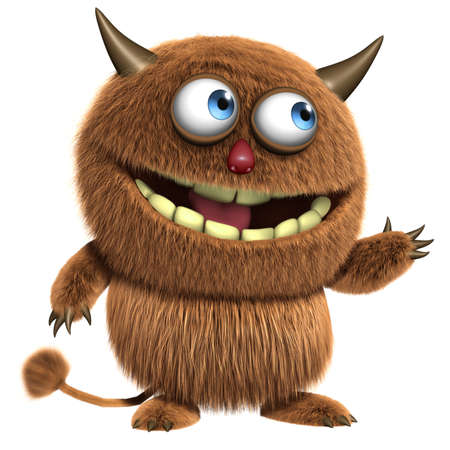 3d cartoon furry cute monster Banco de Imagens