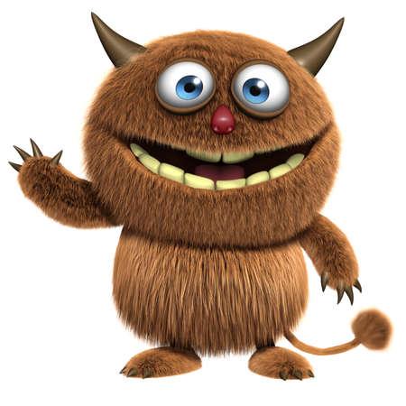bigfoot: 3d cartoon furry cute monster Stock Photo
