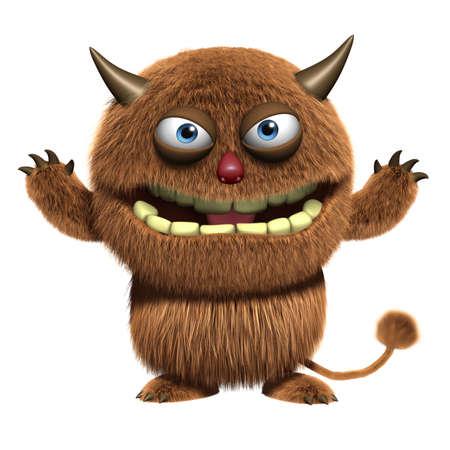 3d cartoon furry cute monster Stock Photo