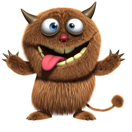 furry animals: 3d fumetto mostro divertente fusa Archivio Fotografico