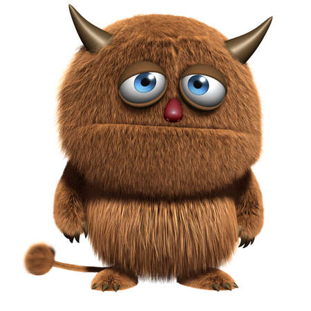 3d cartoon furry cute monster Stock Photo