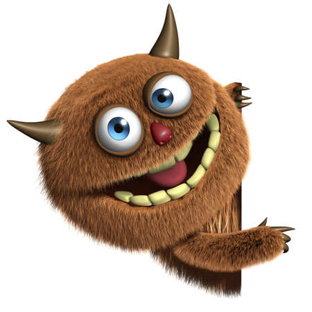 hairy adorable: 3d cartoon furry cute monster Stock Photo