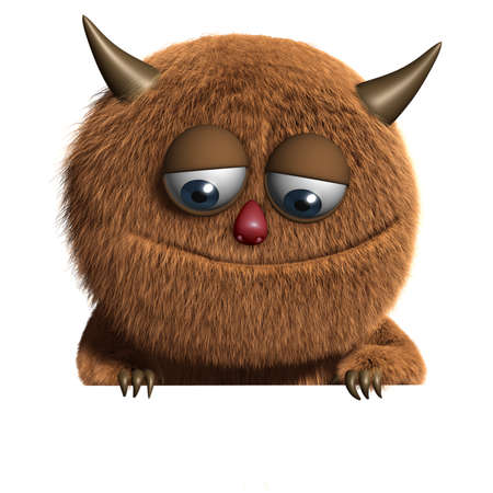 funny monster: 3d cartoon furry cute monster Stock Photo