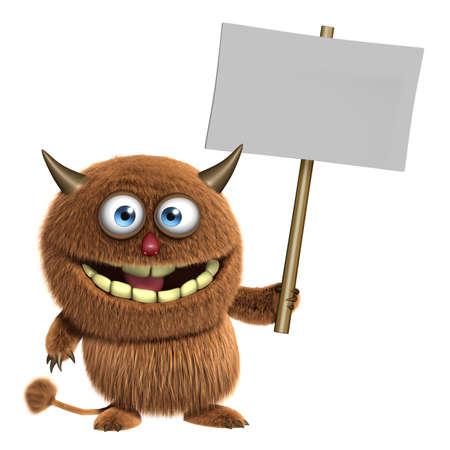 3d cartoon furry cute monster holding blank