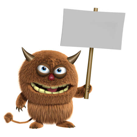 3d cartoon furry cute monster holding blank