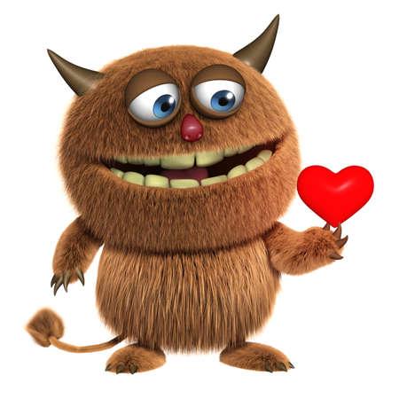 cartoon monster: 3d cartoon furry cute monster Stock Photo