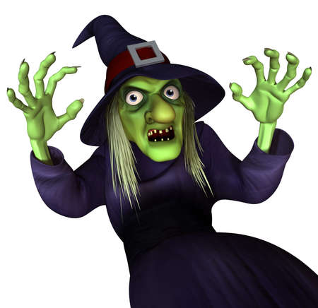wicked woman: 3d cartoon halloween witch