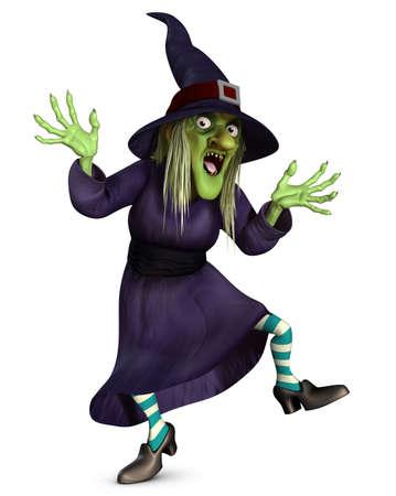 czarownica: 3d cartoon halloween czarownica szalona