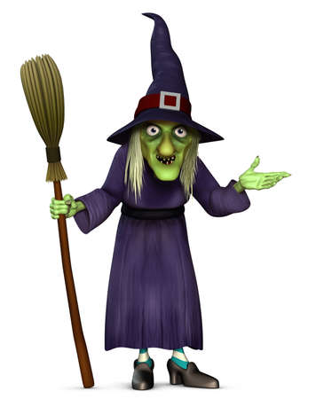 broom: 3d cartoon halloween harridan with broom Stock Photo