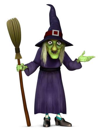 harridan: 3d dibujos animados de Halloween bruja con escoba