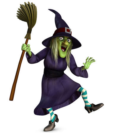 heks: 3d cartoon halloween oud wijf met bezem