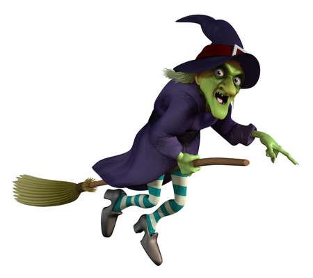 brujas caricatura: vuelo de la bruja en una escoba