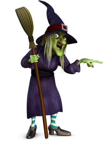 cartoon witch: witch with broom Stock Photo