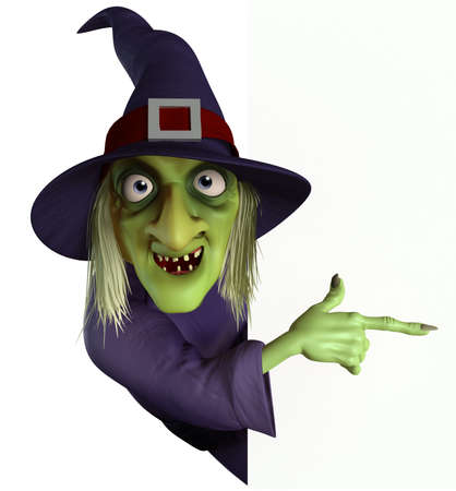 bruja: 3d dibujos animados de Halloween bruja