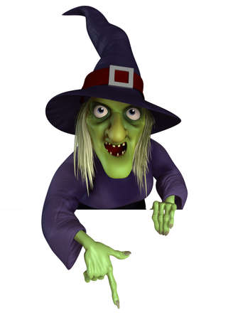 mujer fea: 3d caricatura de bruja de Halloween
