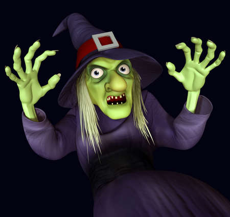 wicked woman: 3d cartoon halloween night-hag