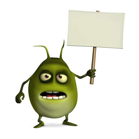 germ: 3d cartoon virus holding blank