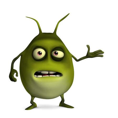 virus organism: 3d cartoon litle green virus