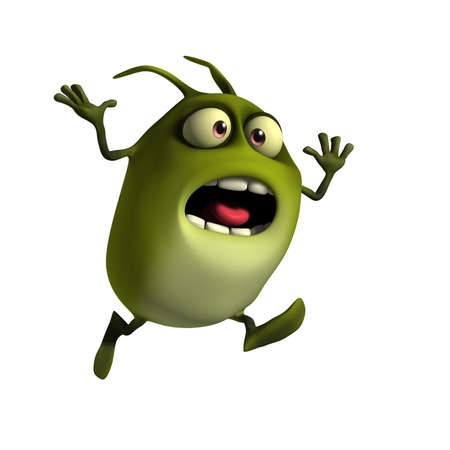 3d cartoon litle green virus photo