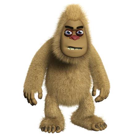 bigfoot: 3d cartoon brown monster Stock Photo