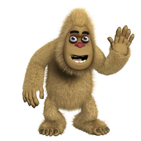 3d cartoon cute brown yeti photo