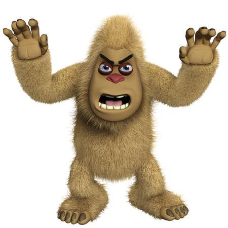 yeti: 3d cartoon horror braun yeti