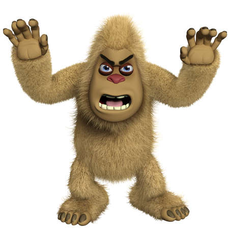 yeti: 3d cartoon horror brown yeti