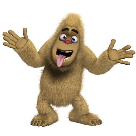 bigfoot: 3d cartoon crazy brown yeti
