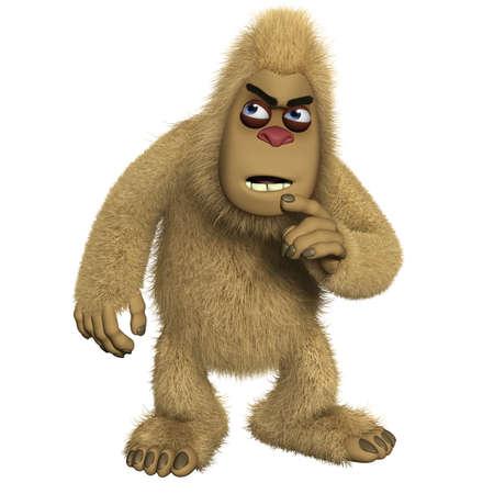 bigfoot: 3d cartoon brown freak Stock Photo