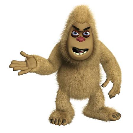 bigfoot: 3d cartoon brown alien Stock Photo