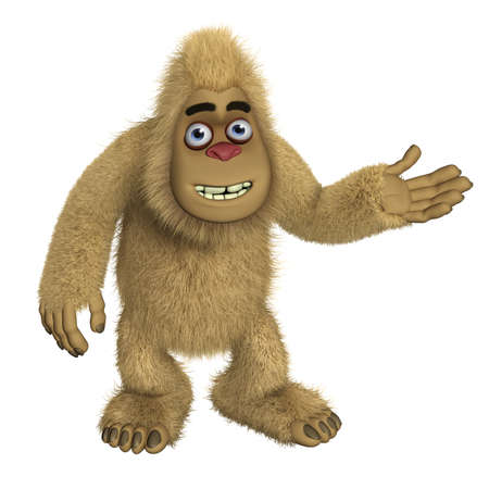 yeti: 3d cartoon brown bigfoot Stock Photo