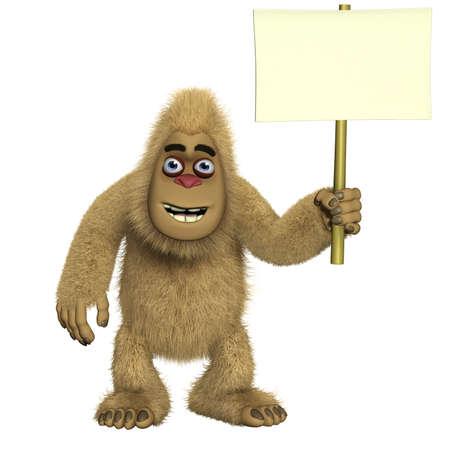 bigfoot: brown yeti holding  blank Stock Photo