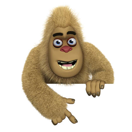yeti: cartoon cute brown bigfoot