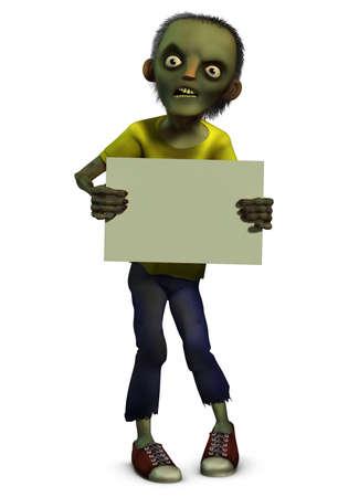 3d cartoon zombie boy holding blank photo