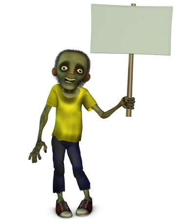 zombie holding blank Stock Photo - 15626062